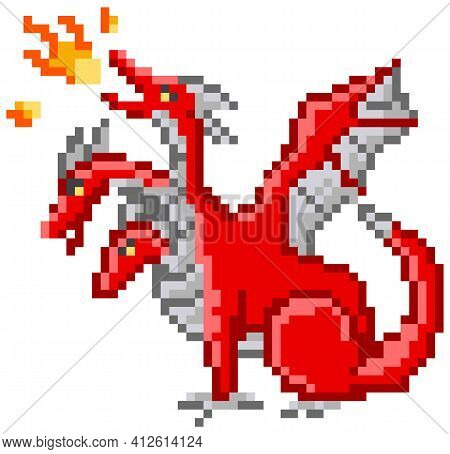 Pixel Monster Character Red Three-headed Dragon. Pixelated Dinosaur Breathes Fire Isolated On White