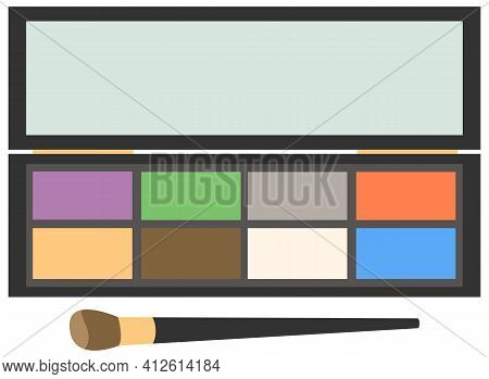 Eyeshadow Makeup Palette. Vector Black Case With Matte, Colorful Pigments. Shadows Set With Brush
