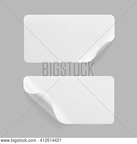 White Glued Rectangle Stickers With Curled Corners Mock Up Set. Blank White Adhesive Paper Or Plasti