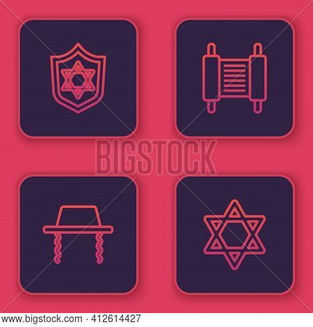 Set Line Shield With Star Of David, Orthodox Jewish Hat, Torah Scroll And . Blue Square Button. Vect