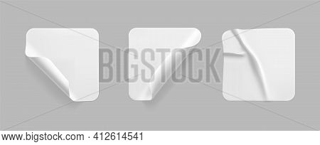 White Square Glued Stickers With Curled Corners Mock Up Set. Blank White Adhesive Square Paper Or Pl