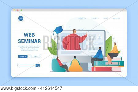 Web Seminar With Tutor Or Teacher On A Digital Screen And Group Of Diverse Multiracial Students Seat