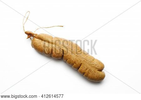 Top View Of A Liver Sausage, Isolated On A White Background. Traditional Meat Product Made Of Offal,