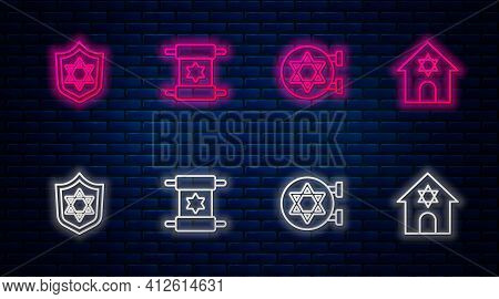 Set Line Torah Scroll, Jewish Synagogue, Shield With Star Of David And . Glowing Neon Icon On Brick