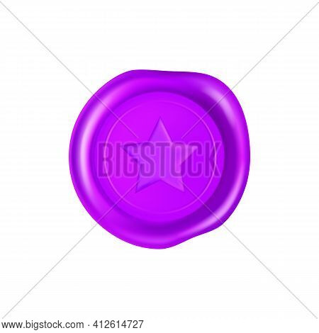 Purple Wax Seal With Star. Wax Seal Stamp Isolated On White Background. Realistic Guaranteed Purple