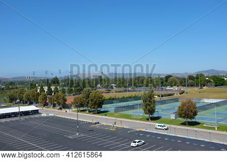 FULLERTON CALIFORNIA - 22 MAY 2020: Overview of the Athletic Fields seen from parking structure on the campus of California State University Fullerton, CSUF.