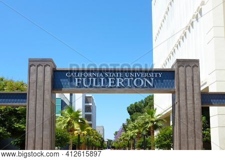 FULLERTON CALIFORNIA - 22 MAY 2020: Closeup of the sign and arch at Langsdorf Hall on the campus of California State University Fullerton, CSUF.