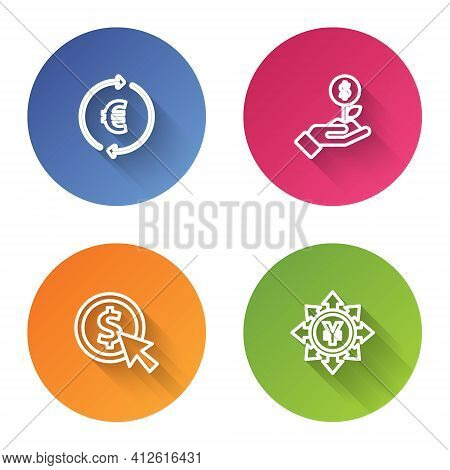 Set Line Coin Money With Euro Symbol, Dollar Plant, Dollar And Yen. Color Circle Button. Vector