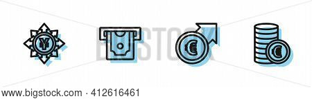 Set Line Financial Growth And Euro, Coin Money With Yen, Atm And Symbol Icon. Vector