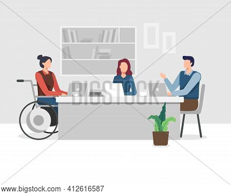 World Disability Day, Group Of Men And Women, Day Of People With Disability. Group Of Disabled Peopl