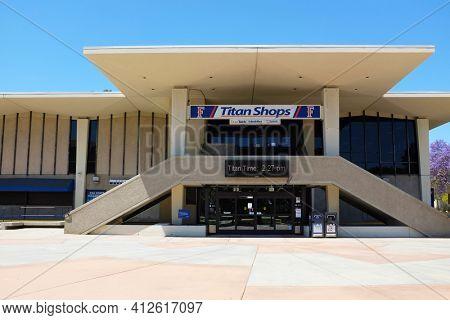 FULLERTON CALIFORNIA - 22 MAY 2020: The Titan Shops bookstore on the campus of California State University Fullerton, CSUF.