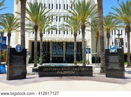 FULLERTON CALIFORNIA - 22 MAY 2020: Sign at Langsdorf Hall at the main entrance to California State University Fullerton, CSUF.