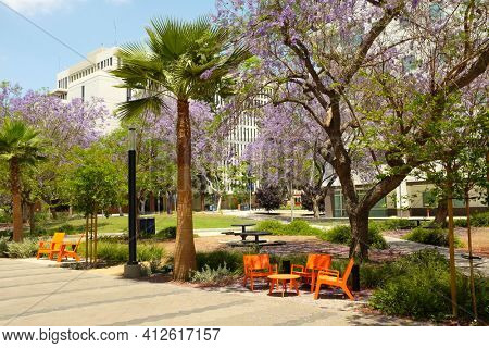 FULLERTON CALIFORNIA - 23 MAY 2020: Landscaping and seating and tables in the quad area of California State University Fullerton, CSUF.