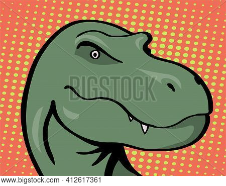 Head Of A Terrible Tyrannosaurus With Predatory Eyes And Jaw. Prehistoric Animal. Vector Cartoon Ill