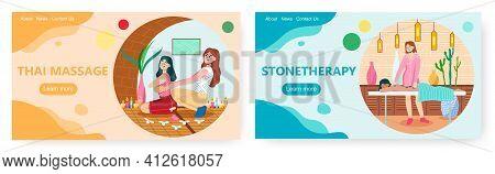 Massage Therapy Landing Page Design, Website Banner Vector Template Set. Healing Thai Massage, Spa H