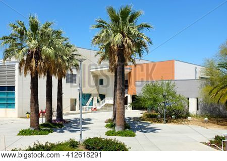 FULLERTON CALIFORNIA - 22 MAY 2020: Kinesiology and Health Sciences Building on the campus of California State University Fullerton, CSUF.