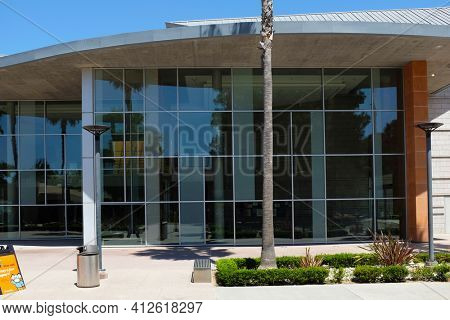 FULLERTON CALIFORNIA - 22 MAY 2020: Closeup of the Joseph Clayes Performing Arts Center on the campus of California State University Fullerton, CSUF.