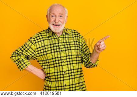 Photo Of Aged Man Pensioner Indicate Finger Empty Space Advert Promo Choose Suggest Isolated Over Ye
