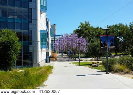 FULLERTON CALIFORNIA - 22 MAY 2020: Grounds of the campus of California State University Fullerton, CSUF.