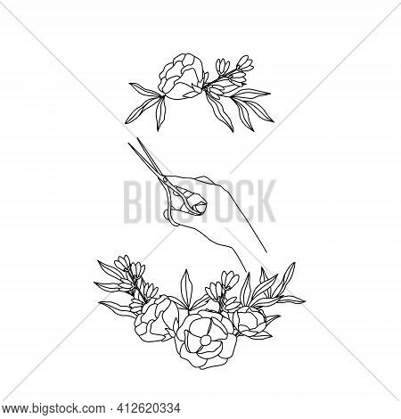 The Outline Of The Scissors In The Hand In A Frame Of Flowers. The Hairdresser Holds The Tool. Sketc