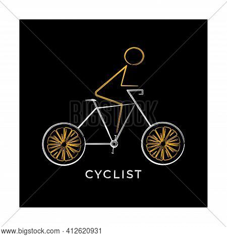 Cyclist On Bicycle Silhouette, Line-art.  Abstract Art Bike. Sport Bike Banner, Poster, Art, Adverti
