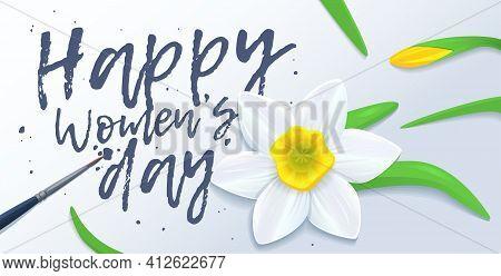 Horizontal Greeting Card Template. Happy International Womens Day