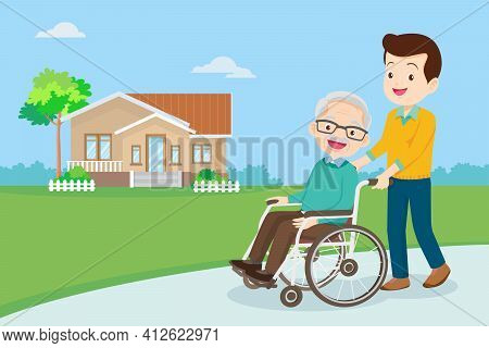 Young Man Strolling With Elderly Man In Wheelchair, Nursing Care For Disabled People And Elderly Con
