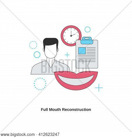 Dental Services Concept. Full Mouth Reconstruction. Vector Illustration.