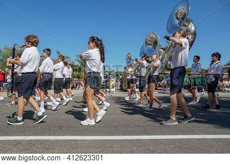 Poway High School Marching Band, 4th July Independence Day Parade At Rancho Bernardo, San Diego, Cal