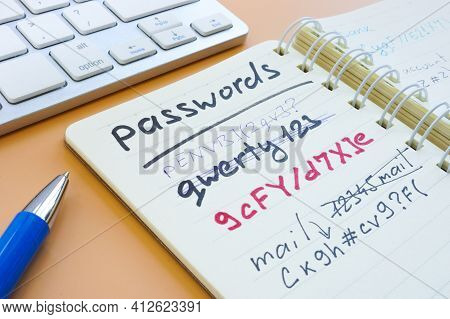 Time To Change Strong Password From Weak. Notepad With Passwords.