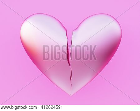 Pink Broken Heart In Two Parts. Fall Out Of Love. Love Depression Concept. 3d Illustration