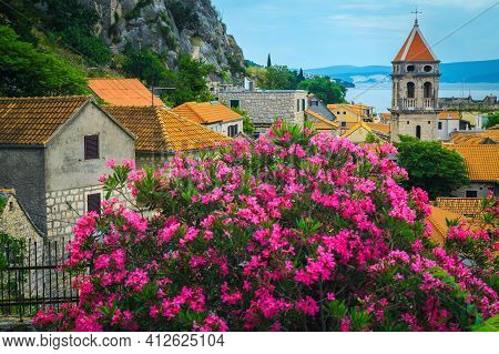 Beautiful Garden With Oleander Flowers And Old Mediterranean Stone Houses In Omis Resort. Great Trav