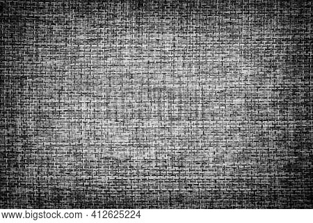 Fabric Texture Background. Vignette. Black And White. Close Up.