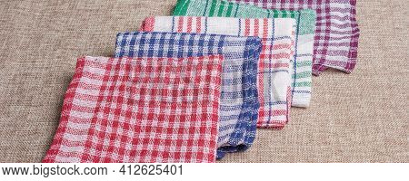 Set Of Handkerchiefs On A Cloth Background
