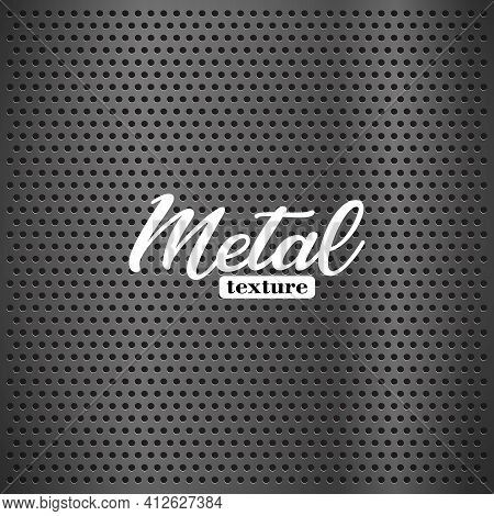 Silver Metal Texture With Round Holes And Reflection Chrome Surface. Vector Circle Mesh Pattern As G