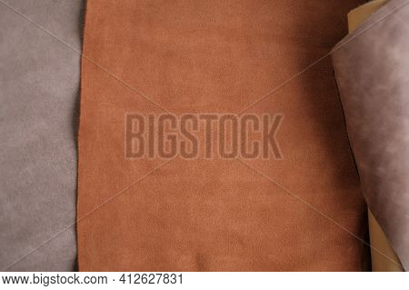 Leather Brown Pieces And Rolls.leatherworking. Genuine Leather Piece Set Of Brown Colors.manufacturi