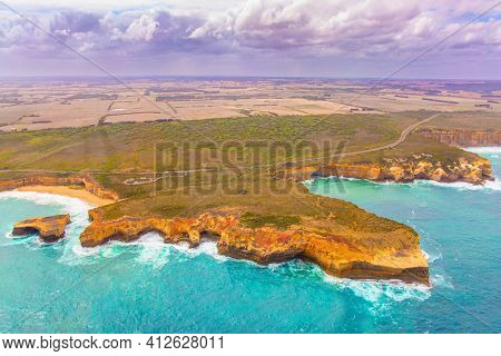 The Twelve Apostles are group of limestone rocks in the Pacific Ocean near the coast. Park