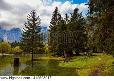 Lake Fuzine. Yellow trees are reflected in the green smooth water of the lake. Alps. Border between Northern Italy and Slovenia.