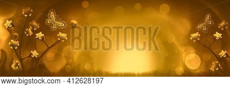Blurred Natural Background.abstract Natural Background Yellow Mustard Brown. Fabulous Sunset Backgro