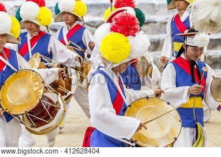 Seoul, South Korea - June 12, 2017: Sangmo Dancers Dancing In A Korean Folk Village In Korea.