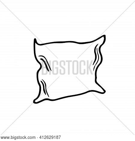 This Is An Illustration Of A Pillow On A White Background. Doodle Image Of A Pillow. Pillow Challeng