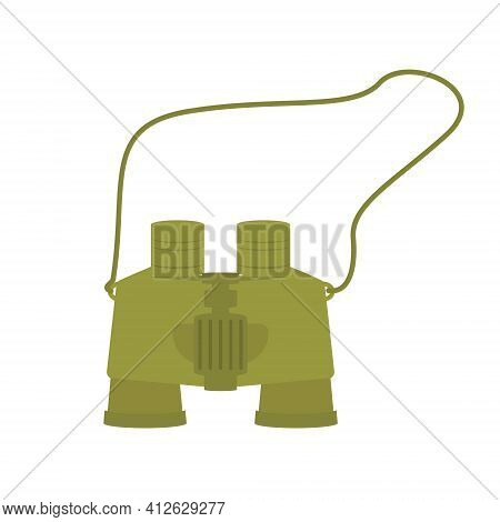 Green Binoculars Icon For Tourism Expedition. Item With Lenses To See At Long Distances. Vector Illu
