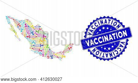 Colorful Mexico Mosaic Map Done Of Syringe Elements, And Vaccination Distress Badge. Vector Syringe