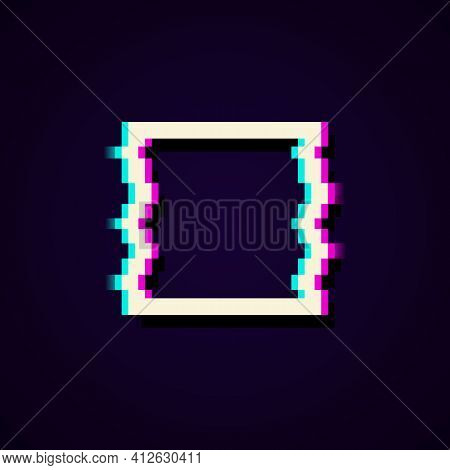 Glitched Square Frame. Distorted Glitch Style Modern Background. Glow Design For Graphic Design Bann