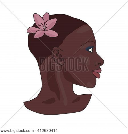 Portrait Of Beautiful African American Girl. Young Elegant Black Woman Head Profile With Short Hair,