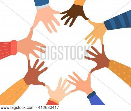 Diversity Hands Of Different Skin Tones. United Community. Concept Of Community, Support, Social Mov