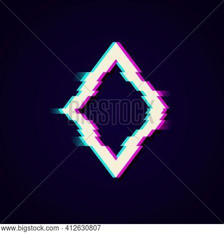 Colorful Glitch Rhombus Geometric Shape, Frame With Neon Glitch Effect On Black Background