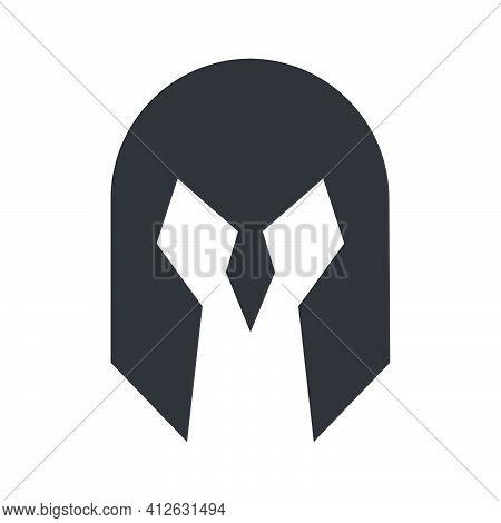 Helmet Knight Warrior Vector Illustration Military Symbol. Medieval Knight Helmet Battle Sign Mascot