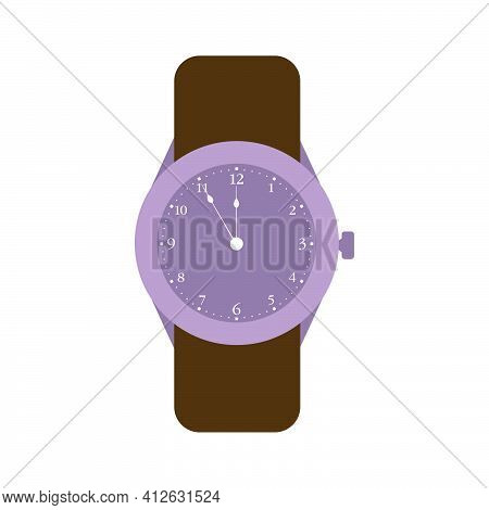 Wristwatch Time Clock Vector Illustration Isolated White Icon. Modern Hand Wristwatch Fashion Busine