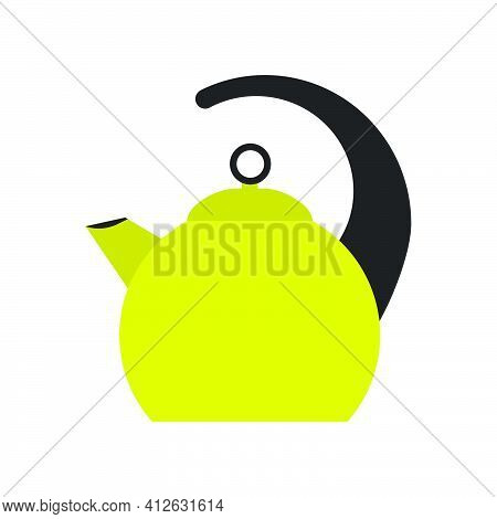 Kitchen Teapot Vector Illustration Kettle Tea Cup Silhouette Design. Isolated Beverage Pot Graphic O